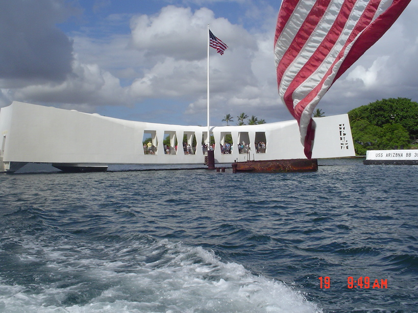Leaving the USS Arizona memorial by boat