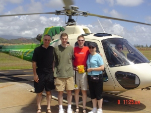 Getting ready for helicopter tour over Hawaii Volcanoes National Park