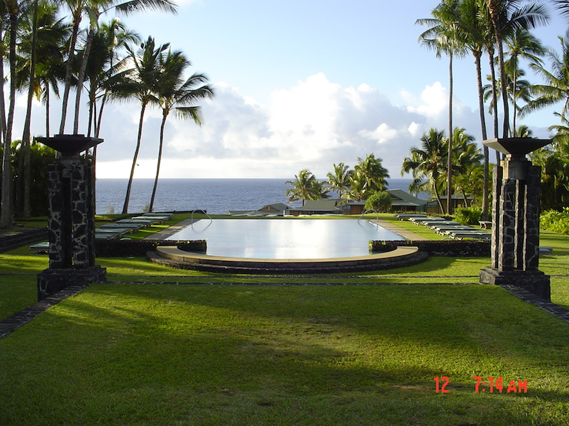 Beautiful infinity pool at the Hotel Hana Maui