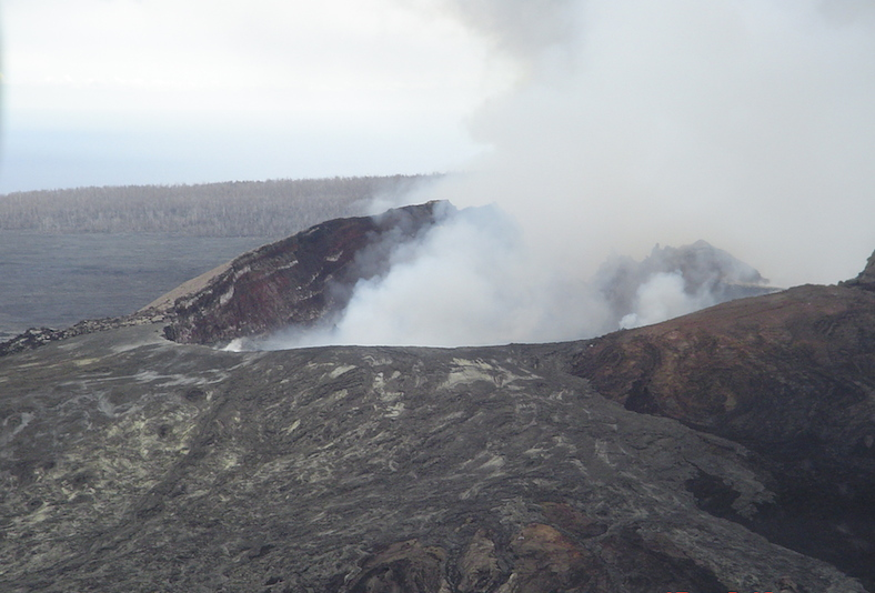 Kilauea crater from the helicopter during the previous day.