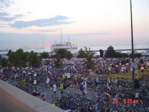 The transition area. Look at all those tri-bikes!