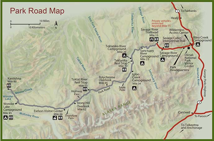 Denali National Park map, courtesy of the U.S. National Park Service