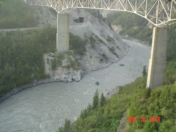 That's our raft floating down the Nenana River!