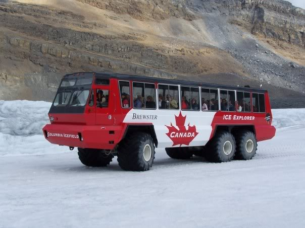 Ridiing out to the  Athabasca Glacier