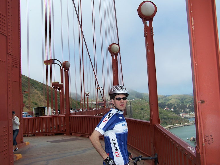 Crossing the Golden Gate on my road bike