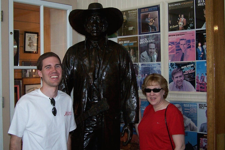 Mom and I pose with Buck Owens