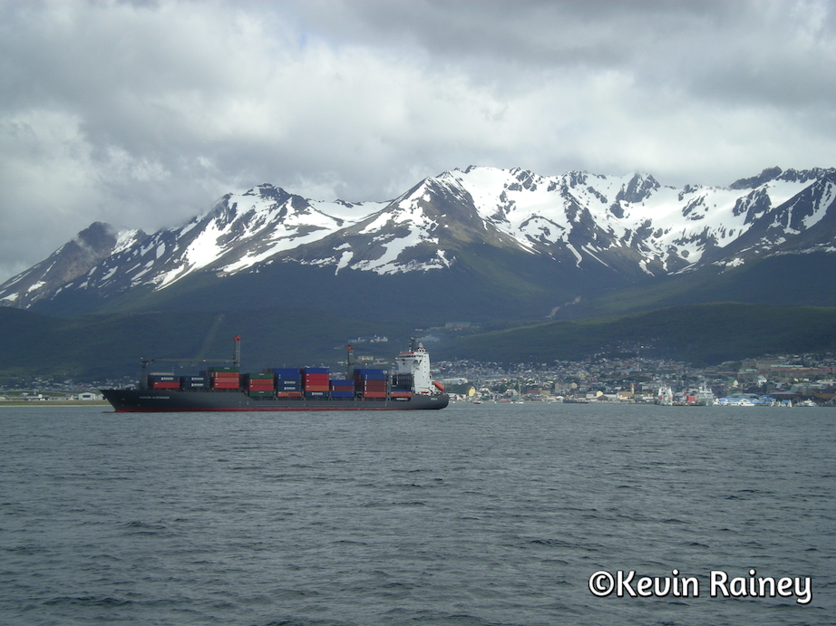 Commercial freighters on the Beagle Channel