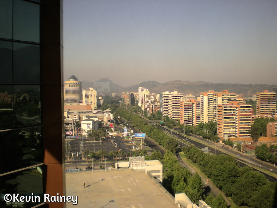 Las Condes district and the Andes from the Marriott Las Condes