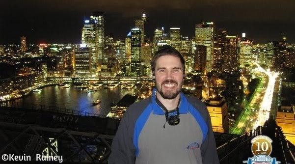 On the Sydney Harbor Bridge wearing a stylish jumpsuit