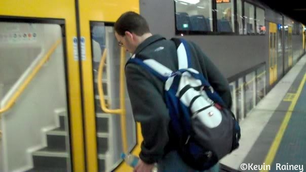 Jeff boarding the train to Sydney airport