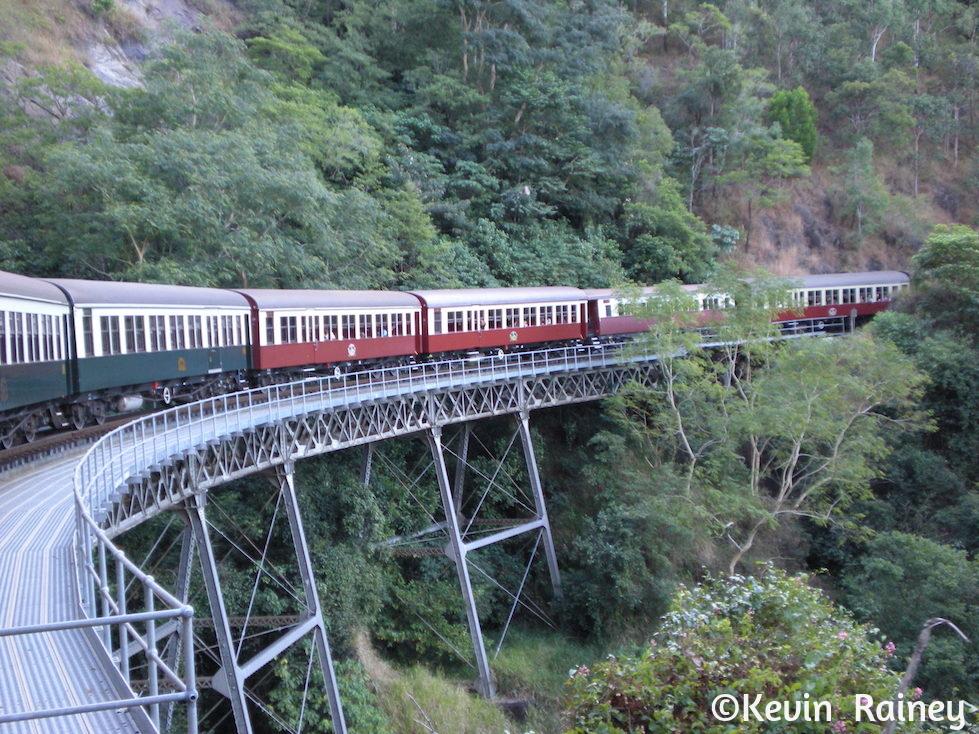 Taking the Kuranda train back to Cairns