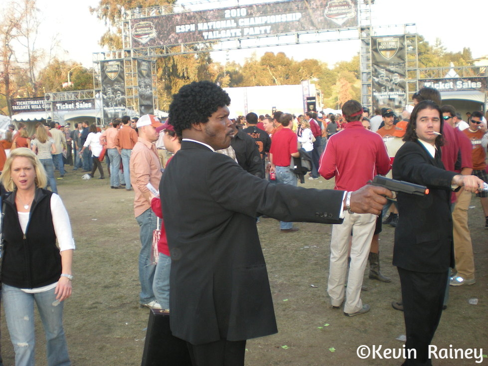 A little Pulp Fiction going on outside the Rose Bowl with Samuel L. Jackson and John Travolta look alikes