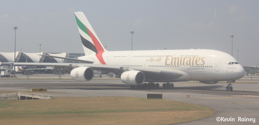 Some of the largest planes in the world land in Bangkok, like this Emirates Airbus A380-800.