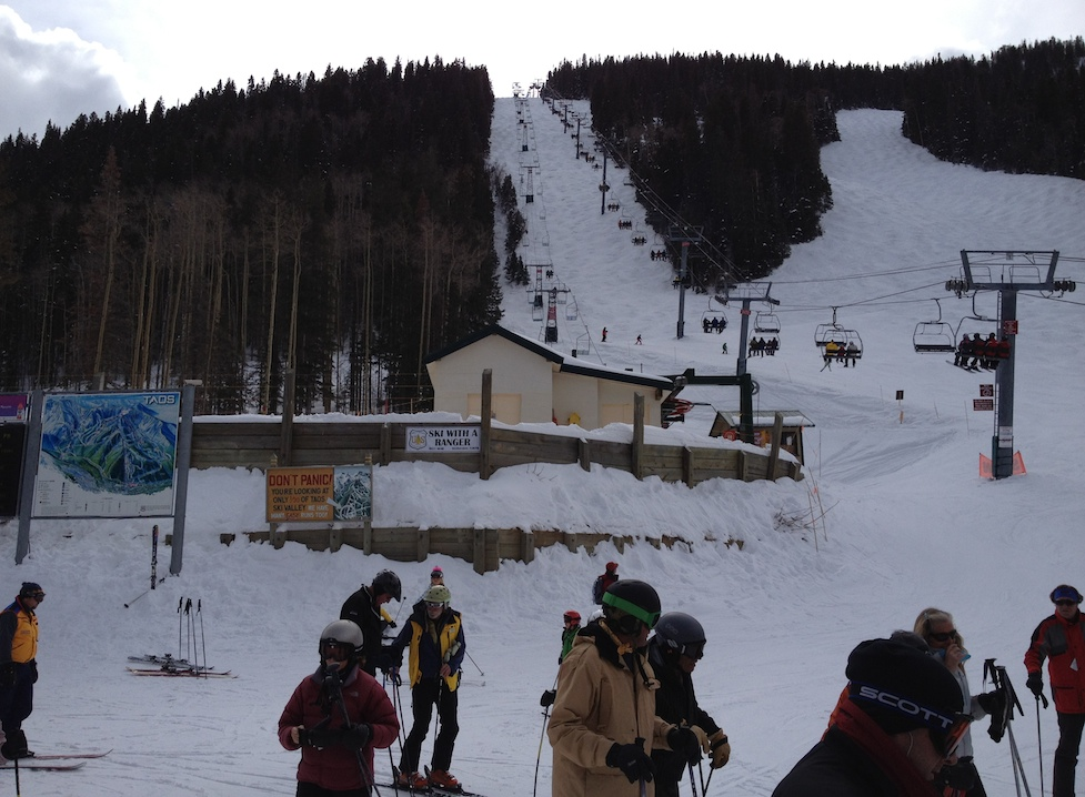 Getting on the lifts at Taos