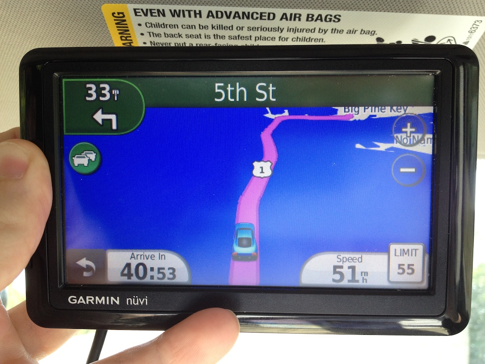 Garmin says we are driving on the Gulf of Mexico