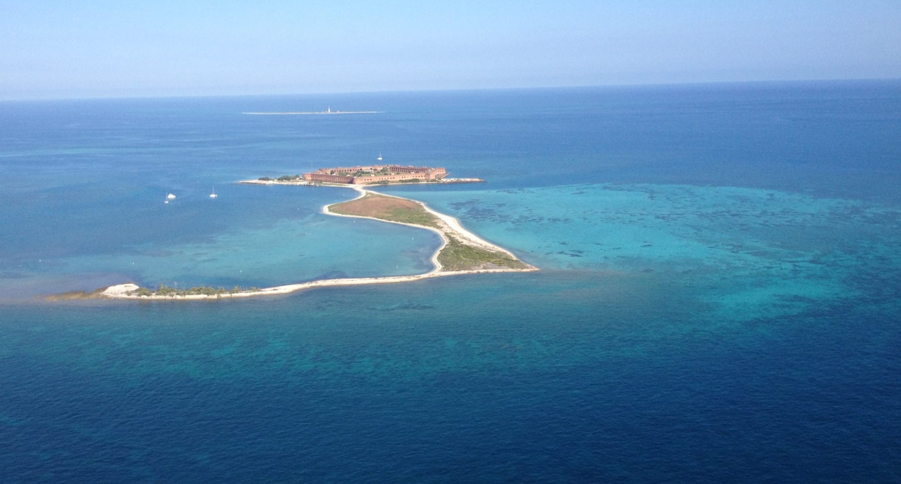 View of Fort Jefferson and Dry Tortugas before landing
