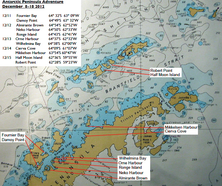 Our nautical chart from the peninsula