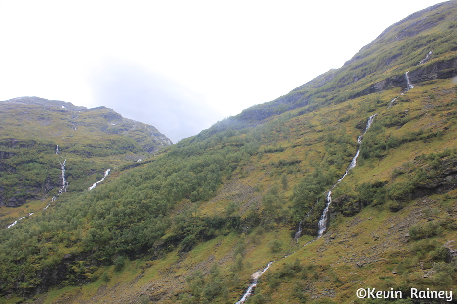Waterfalls everywhere you look over the Aurlandsfjorden
