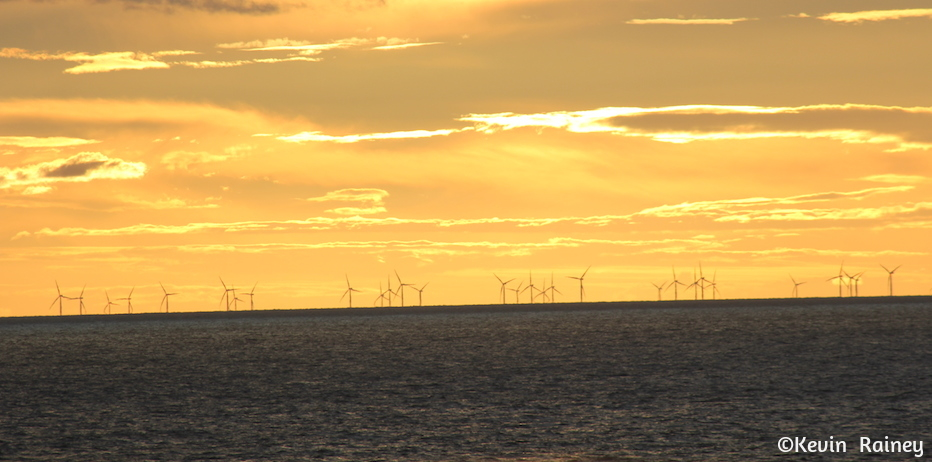 Sunset on the wind farms on the North Sea