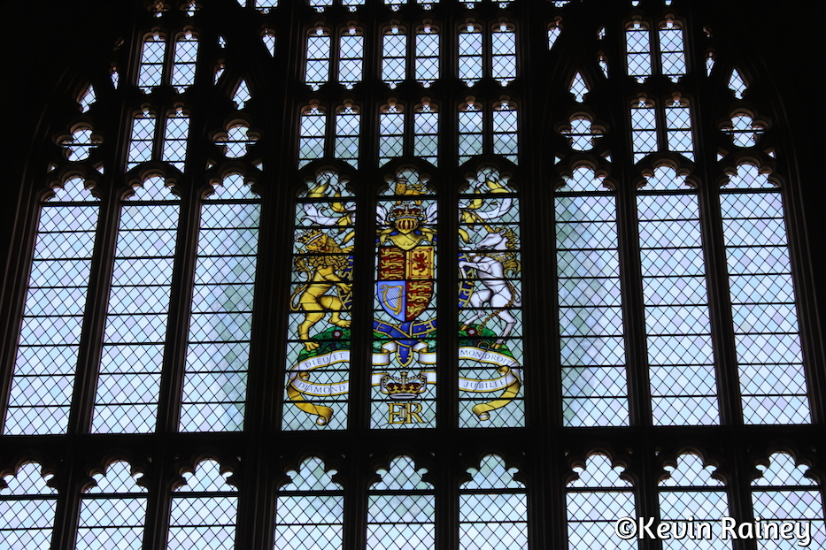 The British coat of arms in Westminster Hall