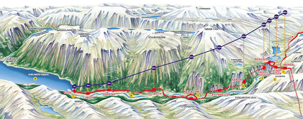 Map of the descent to Flåm